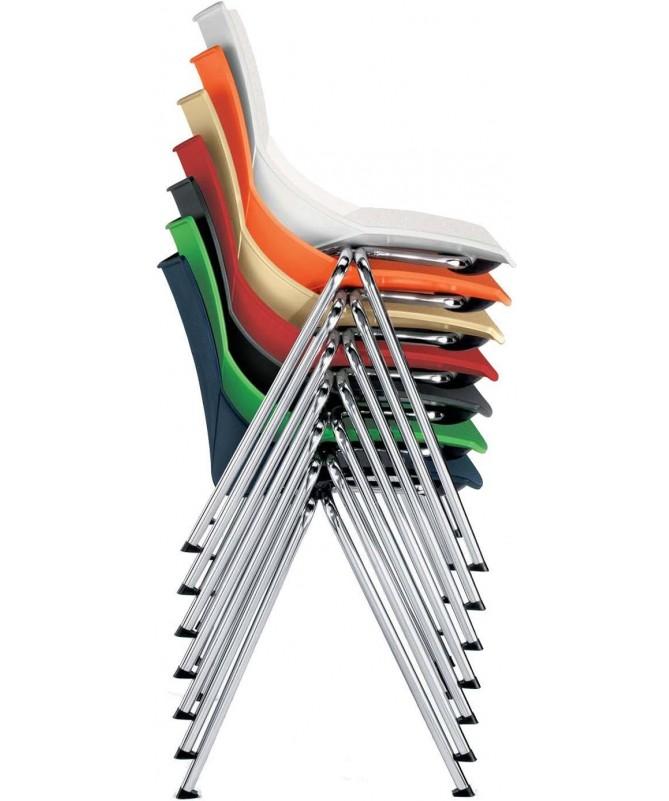 SET 4 SEDIE SORA in plastica arancione con struttura in metallo finitura alluminio MADE IN ITALY