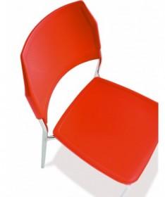SET 4 SEDIE GRANADA in plastica rossa con struttura in metallo finitura alluminio MADE IN ITALY