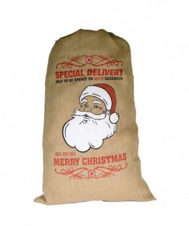 Sacchetti in juta Babbo Natale - 5 pezzi
