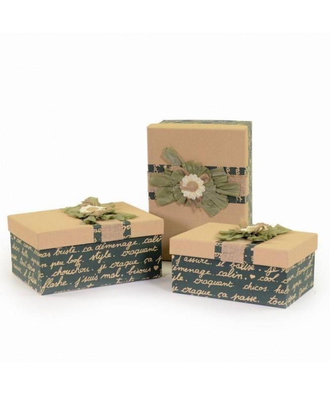Scatole regalo in cartone e stoffa - 3 pezzi