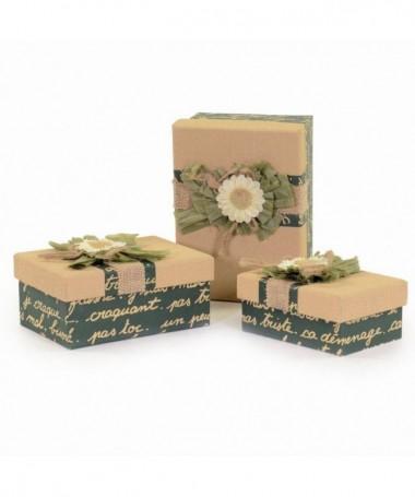 Scatole regalo in cartone e stoffa piccole - 3 pezzi