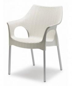 Sedia Basic in pvc e gambe cromate - set da 4 bianco