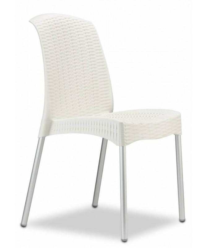 Sedia Olimpia Chair in tecnopolimero intrecciato con gambe anodizzate Made in Italy  - set da 6