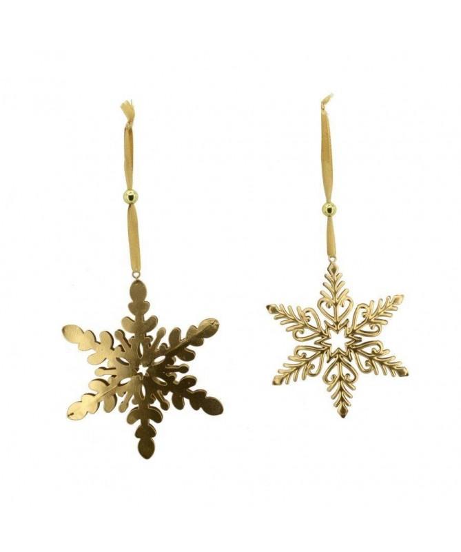 Decorazione Fiocco di neve in metallo dorato – set da 12