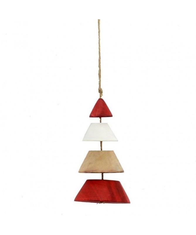 Decorazione in legno albero - set da 4 rosso