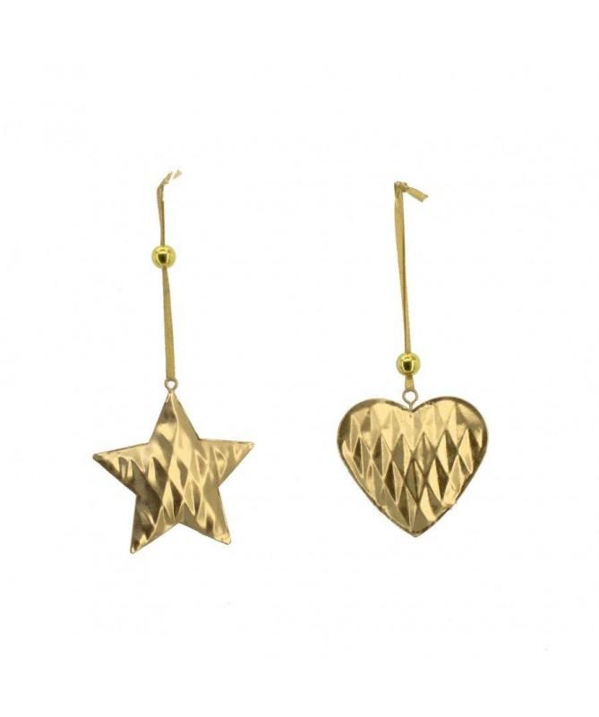Decorazione Stella e Cuore in metallo dorato - set da 12