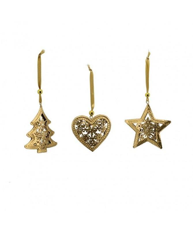 Decorazione Stella Albero e Cuore in metallo dorato - set da 12