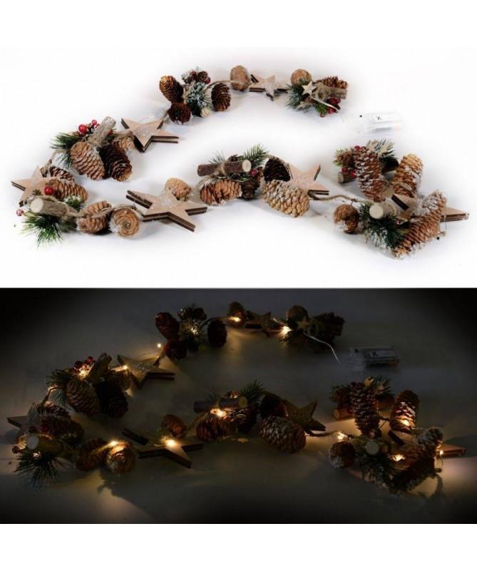Festone luminoso innevato con pigne e stelle - 20 led