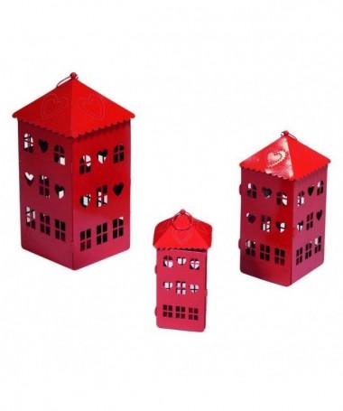 Lanterna a casetta – set da 3 rosso