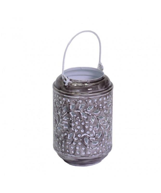 Lanterna stondata traforata in metallo – grigio