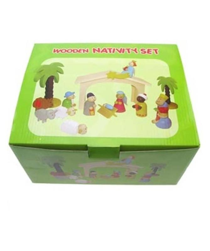 Presepe in legno colorato per bambini