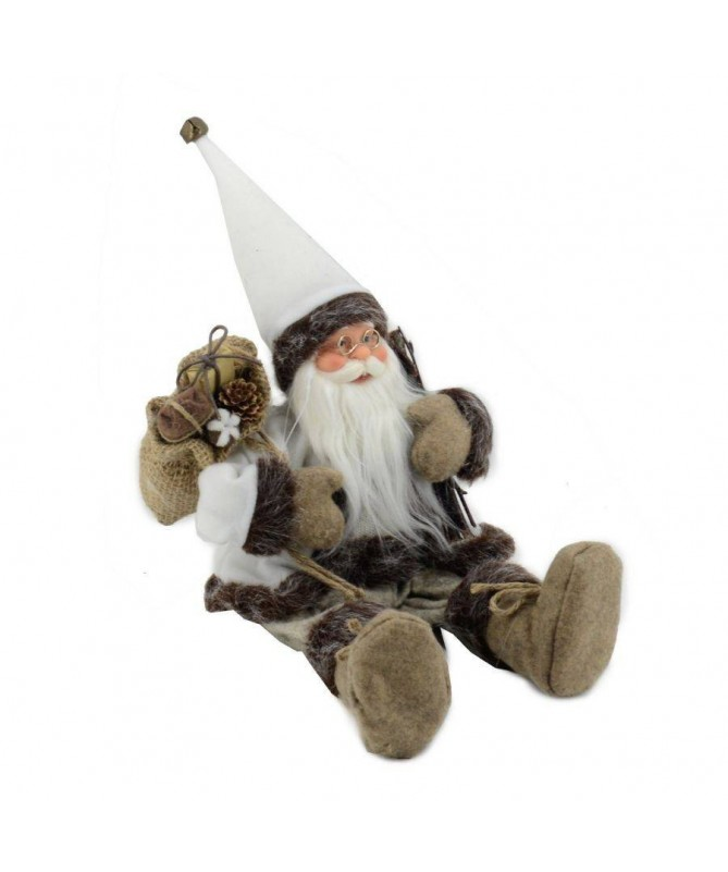 Pupazzo babbo Natale seduto – bianco e marrone
