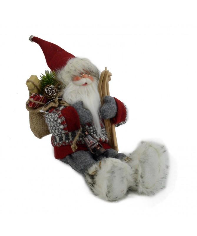 Pupazzo babbo Natale seduto – rosso e grigio
