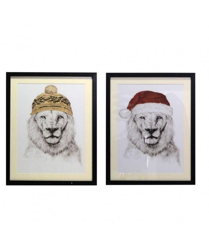 Quadro con leone natalizio – set da 2