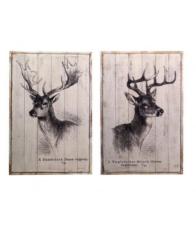 Quadro in legno Cervo – set da 2
