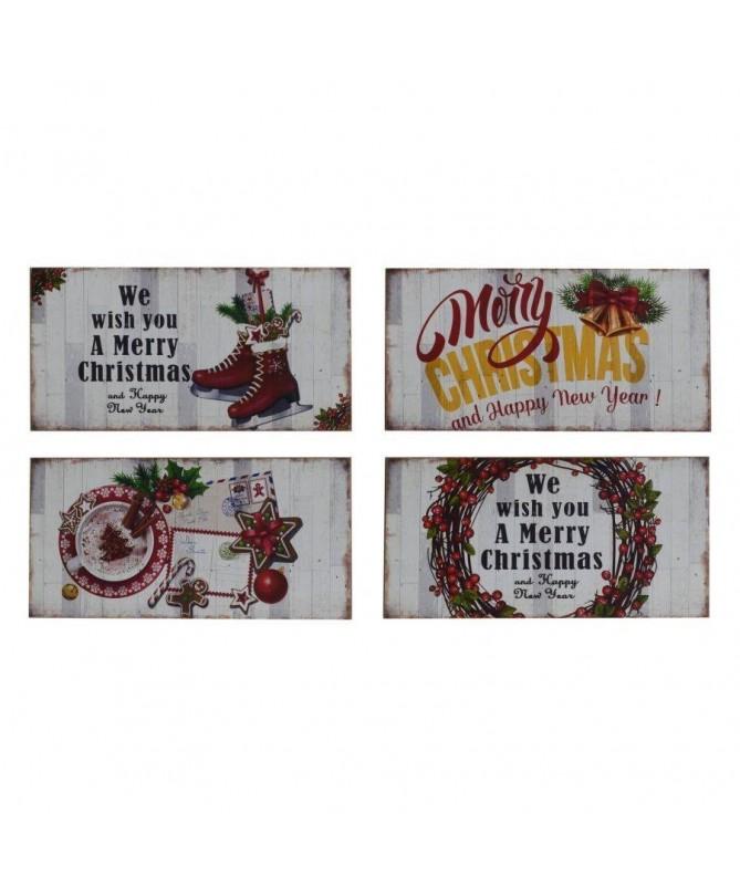 Quadro in legno con decorazioni natalizie – set da 4 bianco