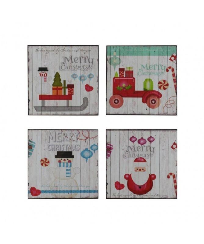 Quadro in legno con personaggi natalizi – set da 4 bianco
