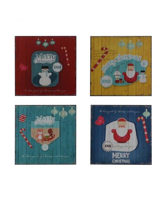 Quadro in legno con personaggi natalizi – set da 4 colorati