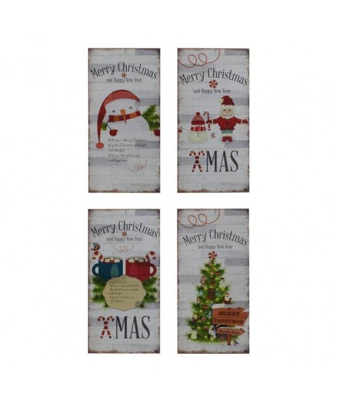 Quadro in legno con soggetti natalizi – set da 4 bianco