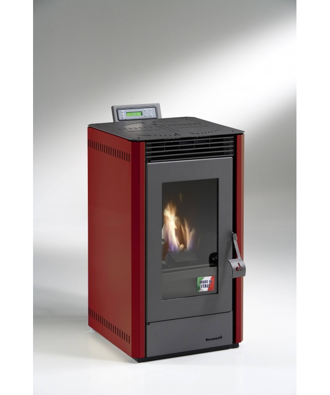 STUFA A PELLET mod. GIANGI 5,5 KW con rivestimento in ACCIAIO ROSSO - MADE IN ITALY
