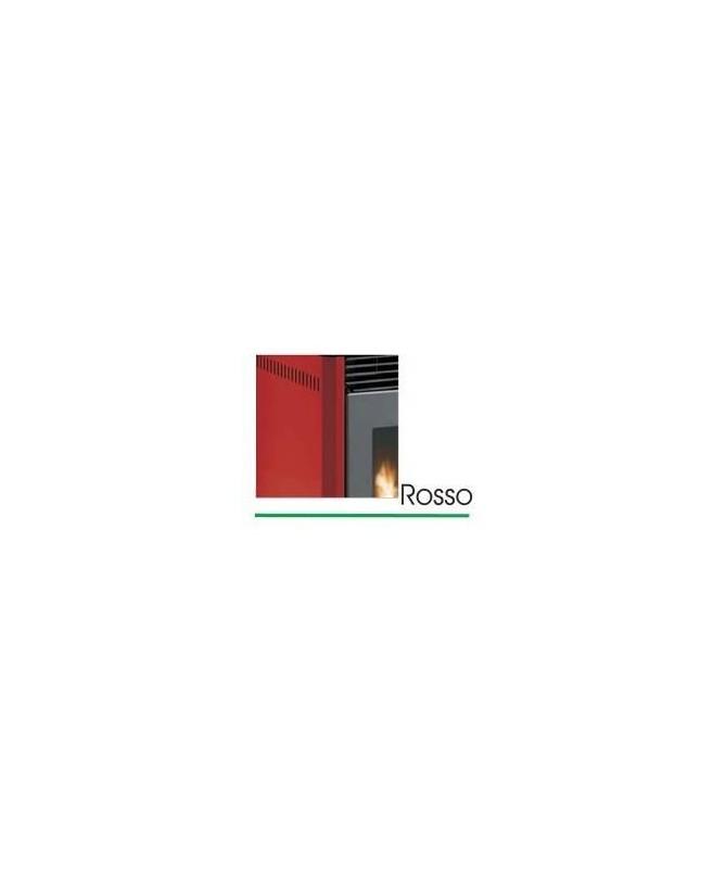 STUFA A PELLET mod. GIANGI 8 KW con rivestimento in ACCIAIO di colore ROSSO - MADE IN ITALY