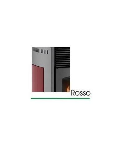 STUFA A PELLET mod. SCINTILLA 10 KW con rivestimento in ACCIAIO e MAIOLICA di colore ROSSO - MADE IN ITALY
