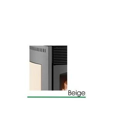 STUFA A PELLET mod. SCINTILLA 10 KW con rivestimento in ACCIAIO e MAIOLICA di colore BEIGE - MADE IN ITALY