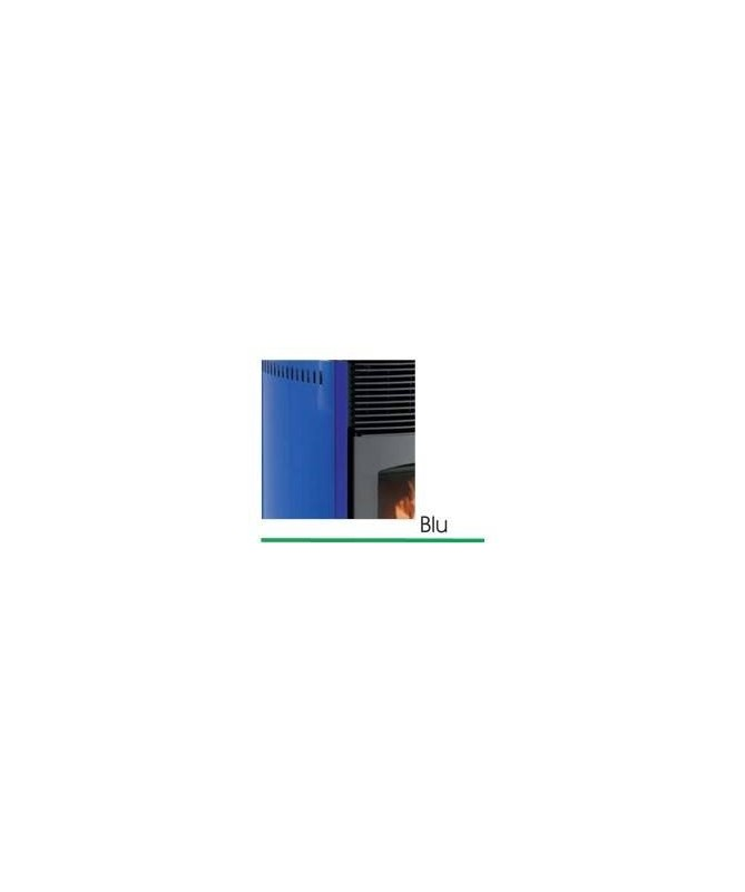 STUFA A PELLET mod. SCINTILLA 12 KW con rivestimento in ACCIAIO di colore BLU - MADE IN ITALY