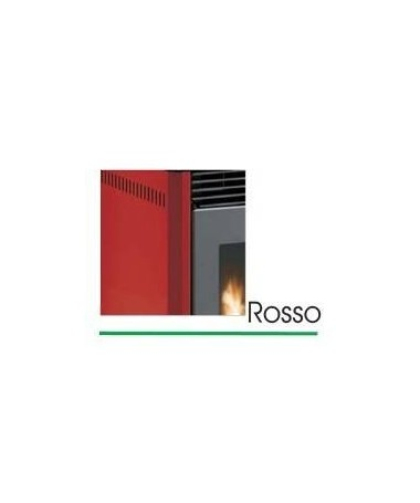STUFA A PELLET mod. SCINTILLA 12 KW con rivestimento in ACCIAIO e MAIOLICA di colore ROSSO - MADE IN ITALY