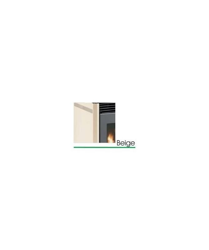 STUFA A PELLET mod. SCINTILLA 12 KW con rivestimento in ACCIAIO e MAIOLICA di colore BEIGE - MADE IN ITALY