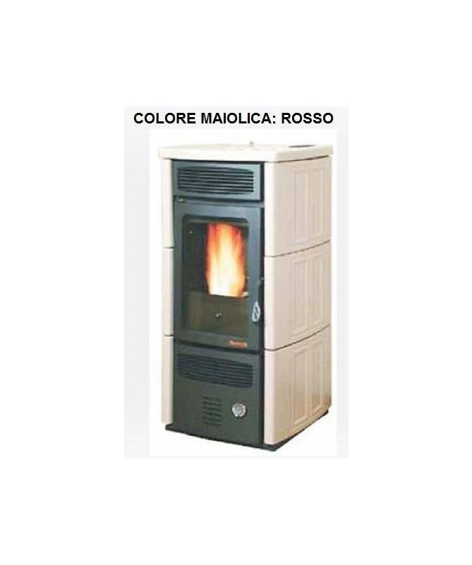 TERMOIDRO STUFA A PELLET da 16 KW con rivestimento interamente in MAIOLICA di colore ROSSO - MADE IN ITALY