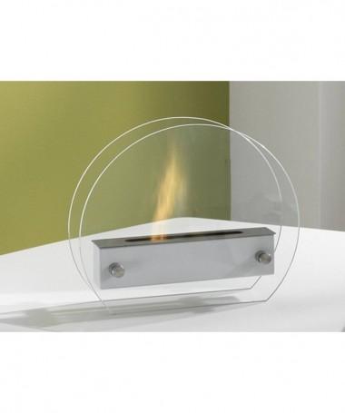 Caminetto a bioetanolo Puck in acciaio e vetro