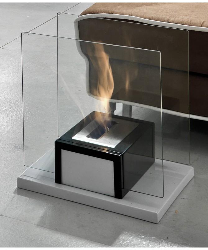 Caminetto a bioetanolo Feel in acciaio e vetro