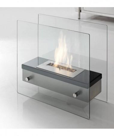 Caminetto a bioetanolo Neos in acciaio e vetro