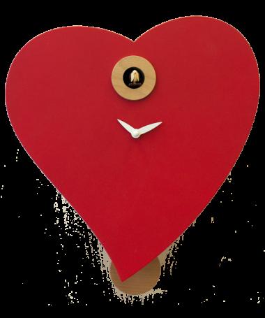 Orologio con cucù Cuore Made in Italy - rosso