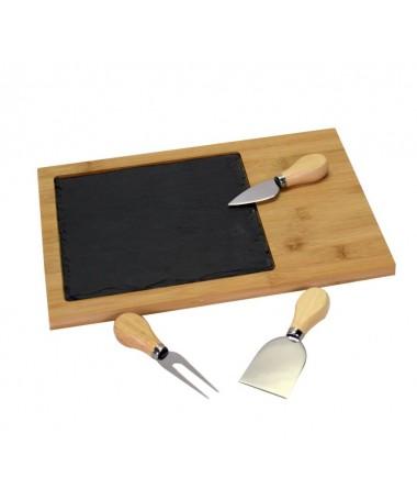 Tagliere bambù e ardesia set formaggio rettangolare