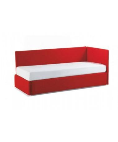Letto 1 piazza con angolo alto Duplo di Bontempi Made in Italy - tessuto o pelle eoclogica