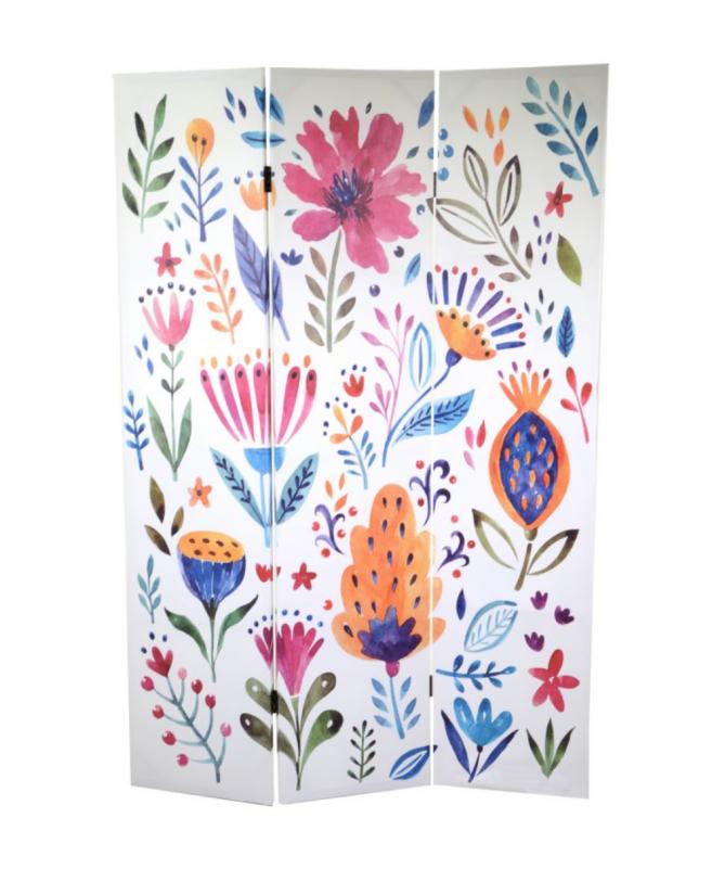 Paravento 3 ante con stampa a fiori colorati