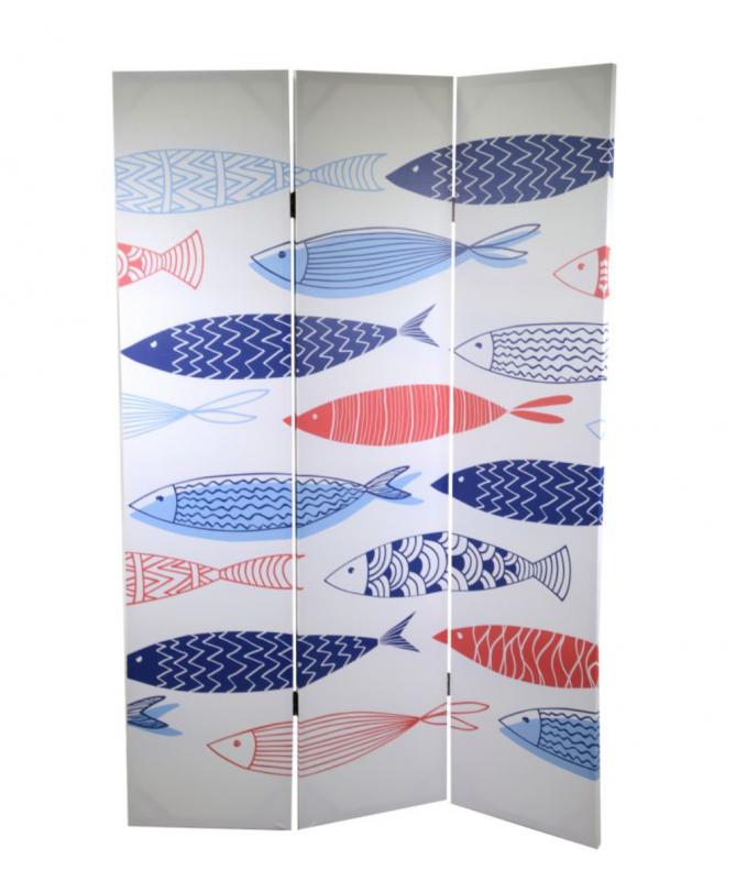 Paravento in legno a 3 ante Mare pesci colorati
