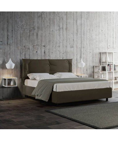 Letto matrimoniale Alberta in similpelle Made in Italy