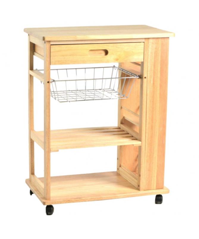 Carrello da cucina in Legno 2 piani + 1 cestello + 1 cassetto