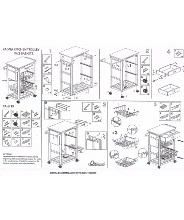 Carrello cucina in legno 1 piano + 2 cassetti metallo + 1 cassetto