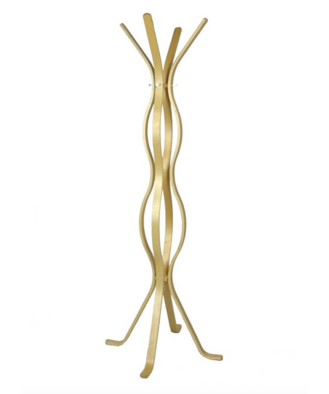 Attaccapanni a stelo ondulato in legno con 4 braccia - naturale