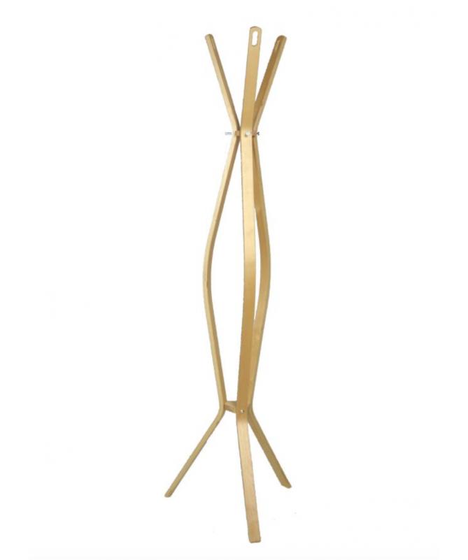 Attaccapanni a stelo in legno con 3 braccia - naturale