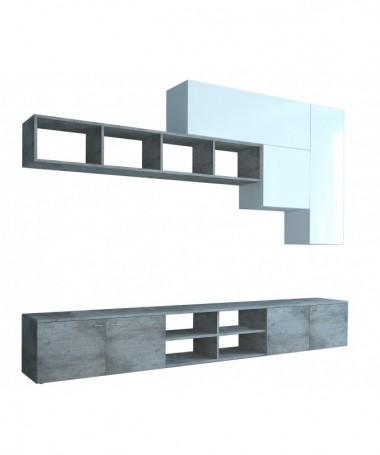 Unità composita da parete GEREMIA - bianco/cemento