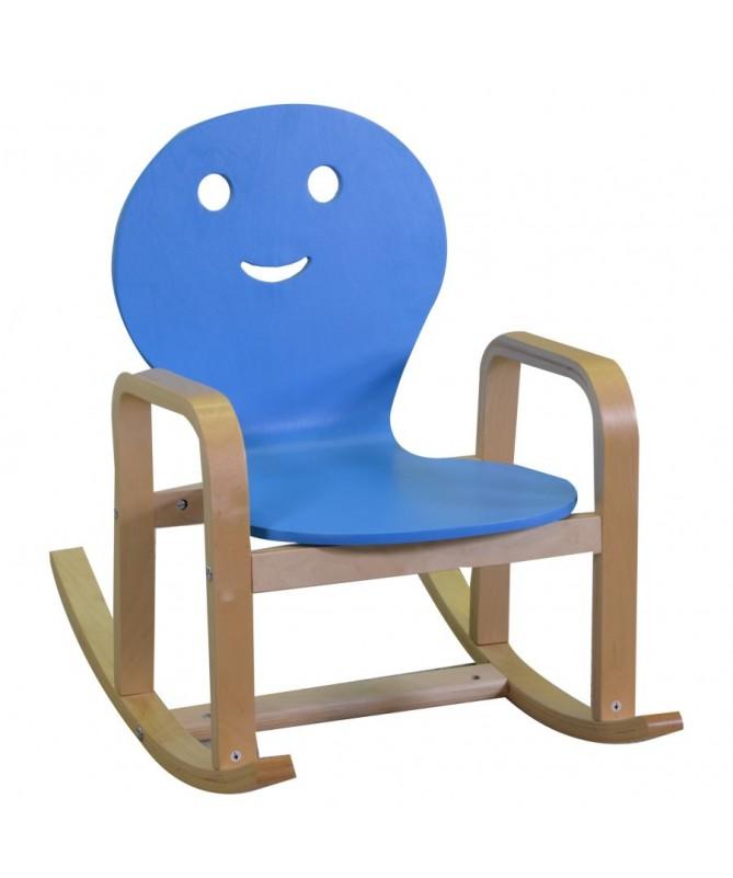 Dondolo per bambini in legno blu