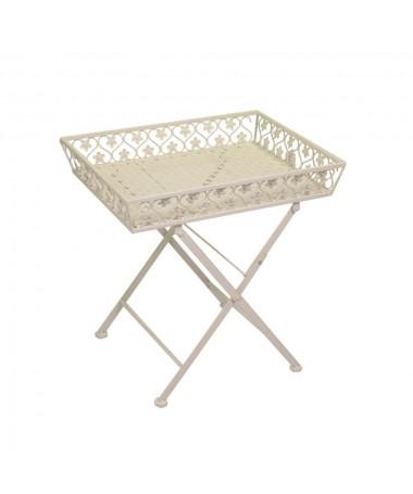 Tavolino metallo LETIZIA bianco con vassoio