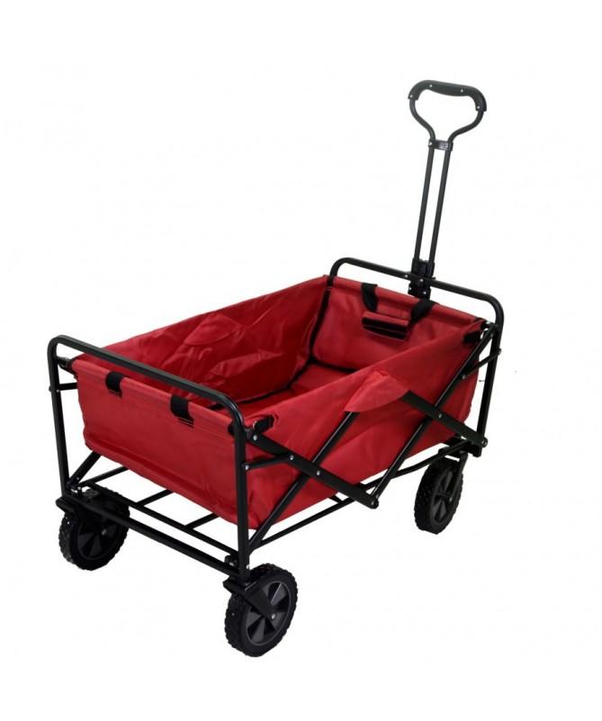Carrello in tessuto rosso con ruote