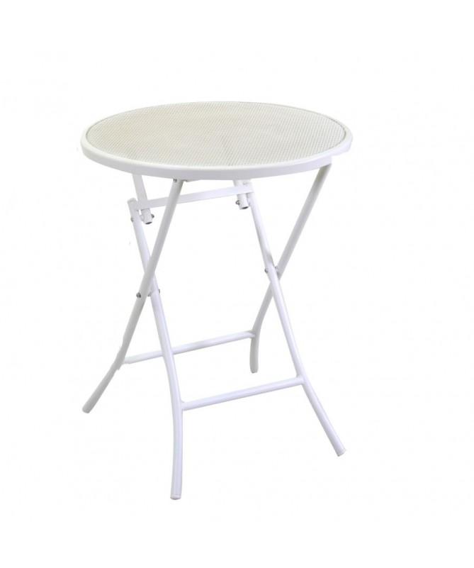 Tavolo ferro LUCCA bianco tondo pieghevole con 2 sedie