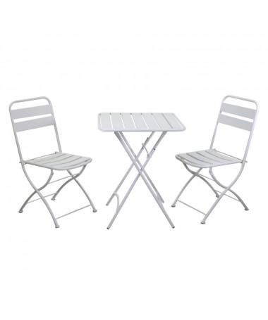Tavolo metallo ROVIGO con2 sedie bianco